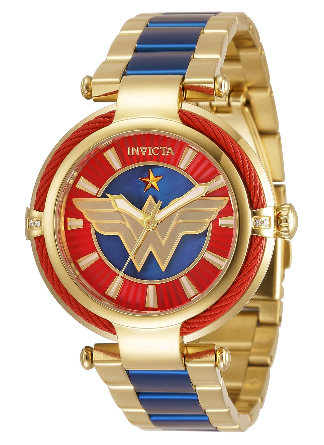 Invicta DC Comics Wonder Woman Quartz Women's Watch - 40mm Stainless Steel Case, Stainless Steel Band, Gold, Blue (34954)