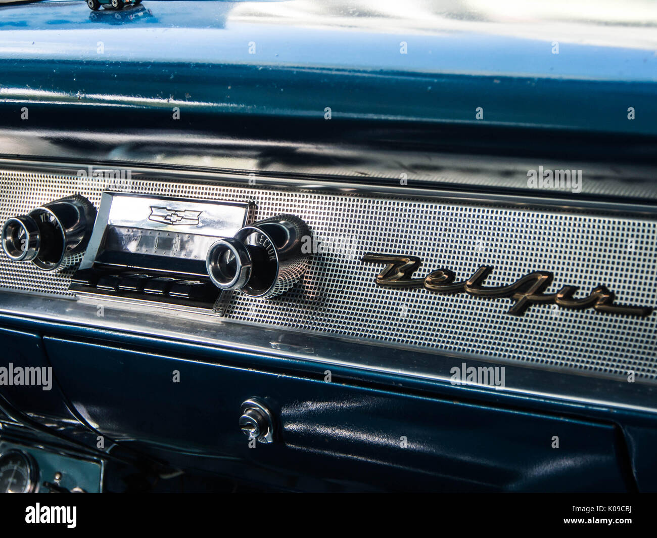 The radio in the front of a 1957 Chevrolet Bel Air four door sedan ...