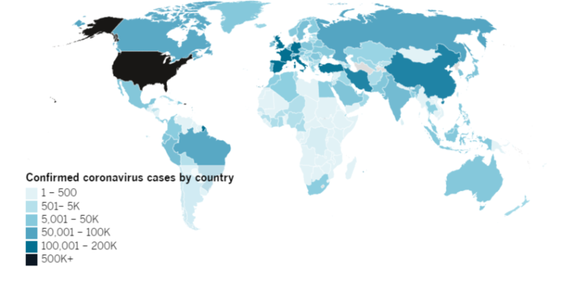 Confirmed COVID-19 cases by country as of 5:00 p.m. Monday, April 20, 2020.