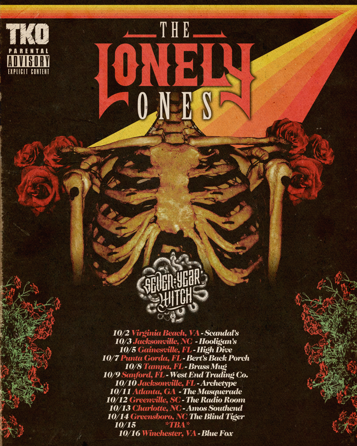 THE LONELY ONES October Tour Poster NO 10-15 PIPESTEM
