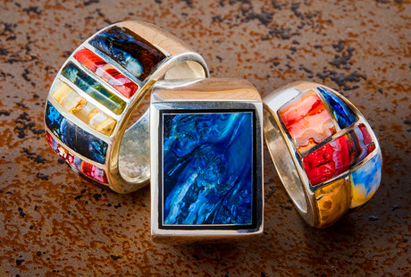 SANTA FE STONEWORKS Handcrafted Mammoth Tusk Rings @ Touch