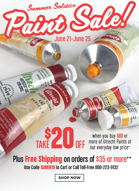 Summer Solstice Paint Sale - Take $20 off when you buy $99+ Utrecht Paints + Free Shipping $35+