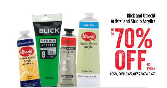 Blick and Utrecht Artists' and Studio Acrylics - up to 70% off list prices