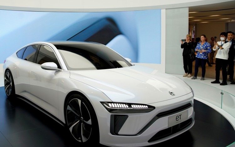 Chinese electric carmaker NIO unveiled its ET7 model during media day at the Auto Shanghai 2019 trade show on April 16. Photo: Reuters
