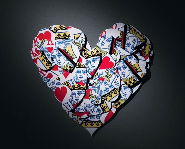Heart shaped collage madke of king and queen of hearts cards