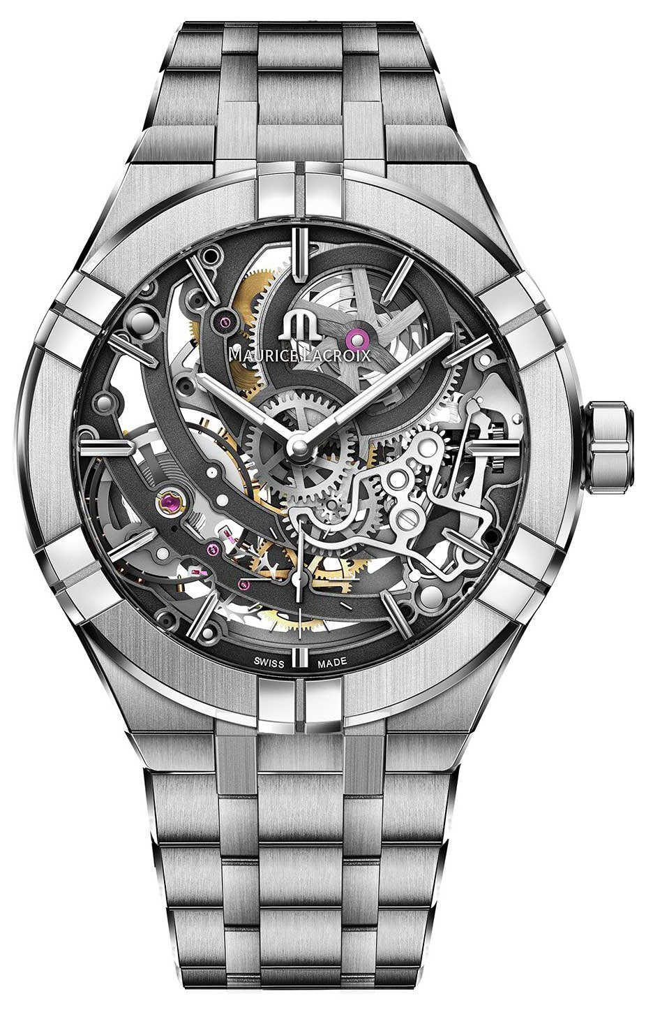 Maurice Lacroix AI6028-SS002-030-1 LIMITED EDITION AIKON Skeleton Automatic Stainless Steel Watch