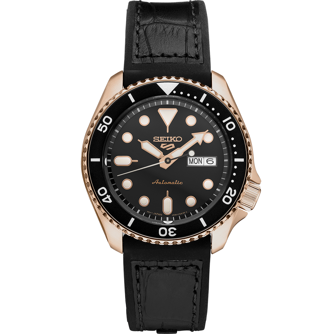 Seiko 5 Mens SRPD76 Black Dial Automatic Silicone Band Watch