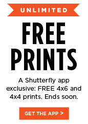 Unlimited Free Prints. A Shutterfly app exclusive: FREE 4x6 and 4x4 prints. Ends Soon. Get the App.