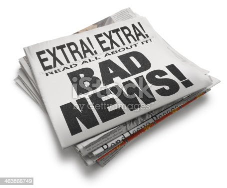 Newspaper With The Headline Bad News Isolated On White Background Stock Photo & More Pictures of ...