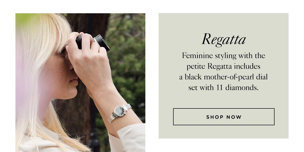 Regatta: Feminine styling with the petite Regatta includes a black mother-of-pearl dial set with 11 diamonds.