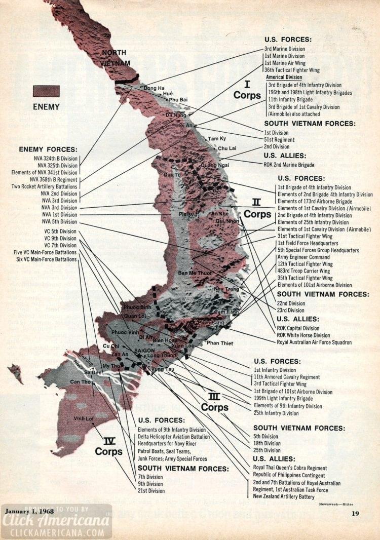 Vietnam War map - Newsweek - Corps to corps (1968)
