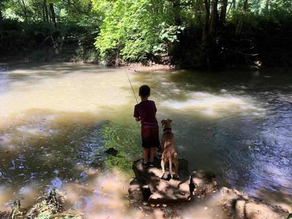Child fishing with dog