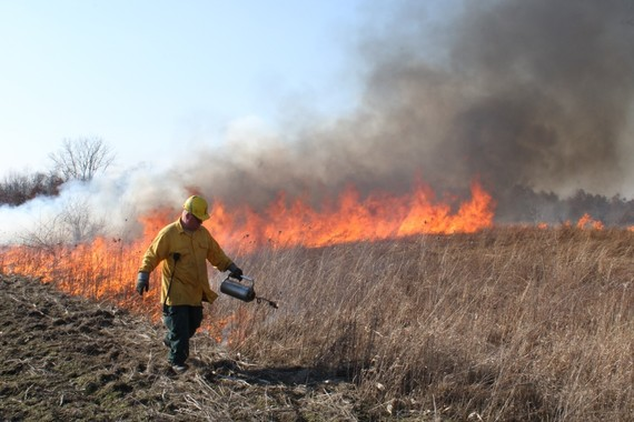 Drip can for prescribed fire activities used on grassland area