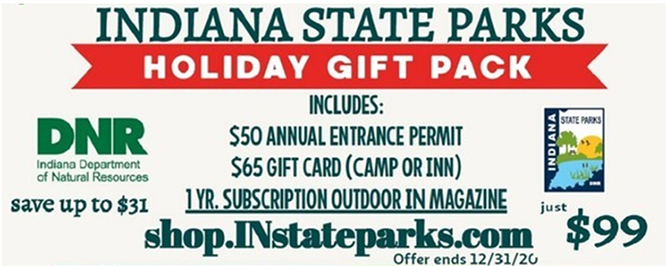 Holiday Gift Pack $50 entrance permit $65 gift card 1 years subscription to OI magazine all for $99, shop.INstateparks.com