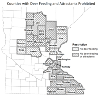areas where deer feeding and attractant bans are in place