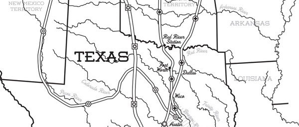 Map of Texas with cattle trail routes