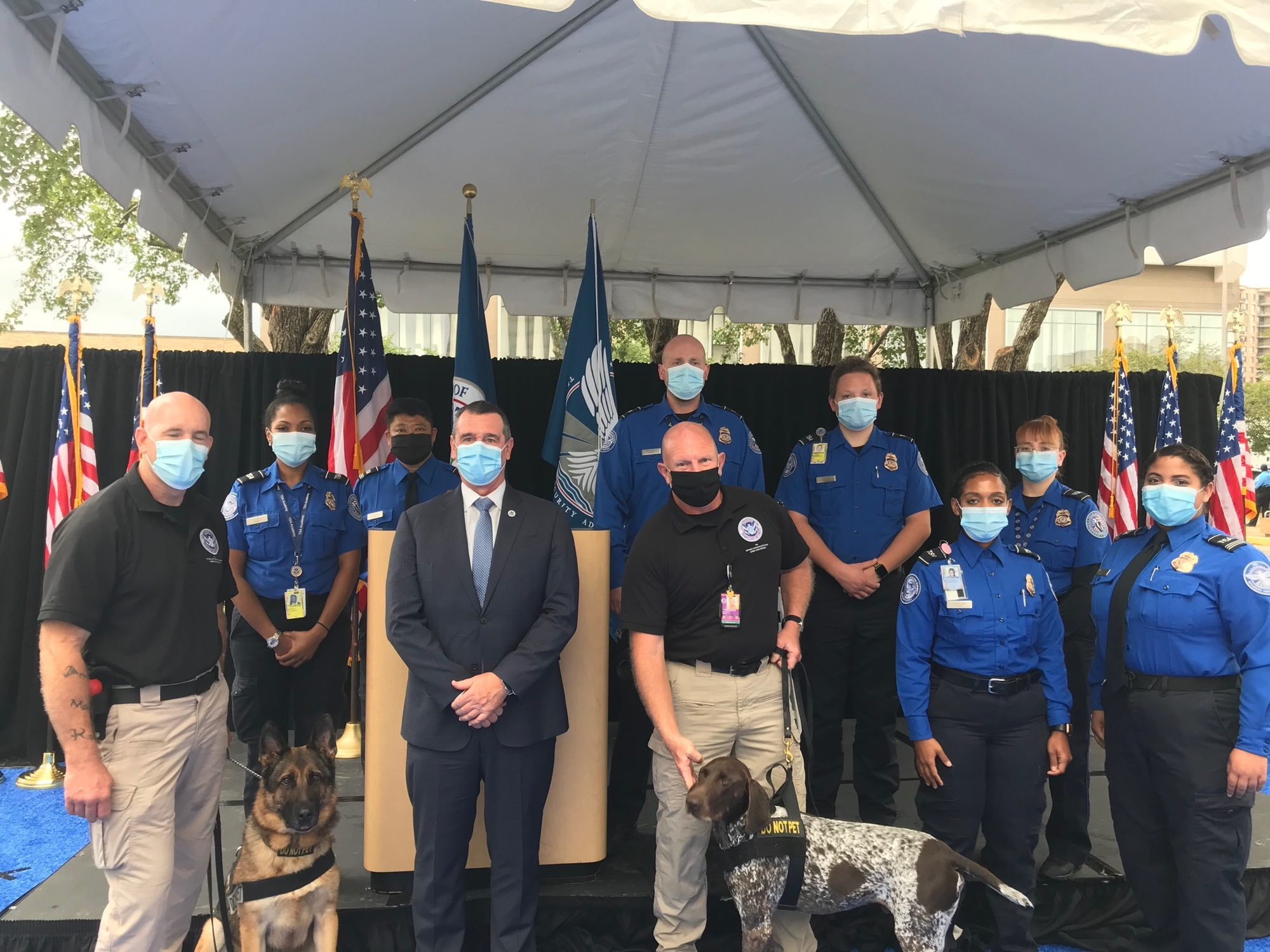 TSA Administrator David Pekoske with Transportation Security Officers at the agency's 9/11 ceremony. (TSA photo)