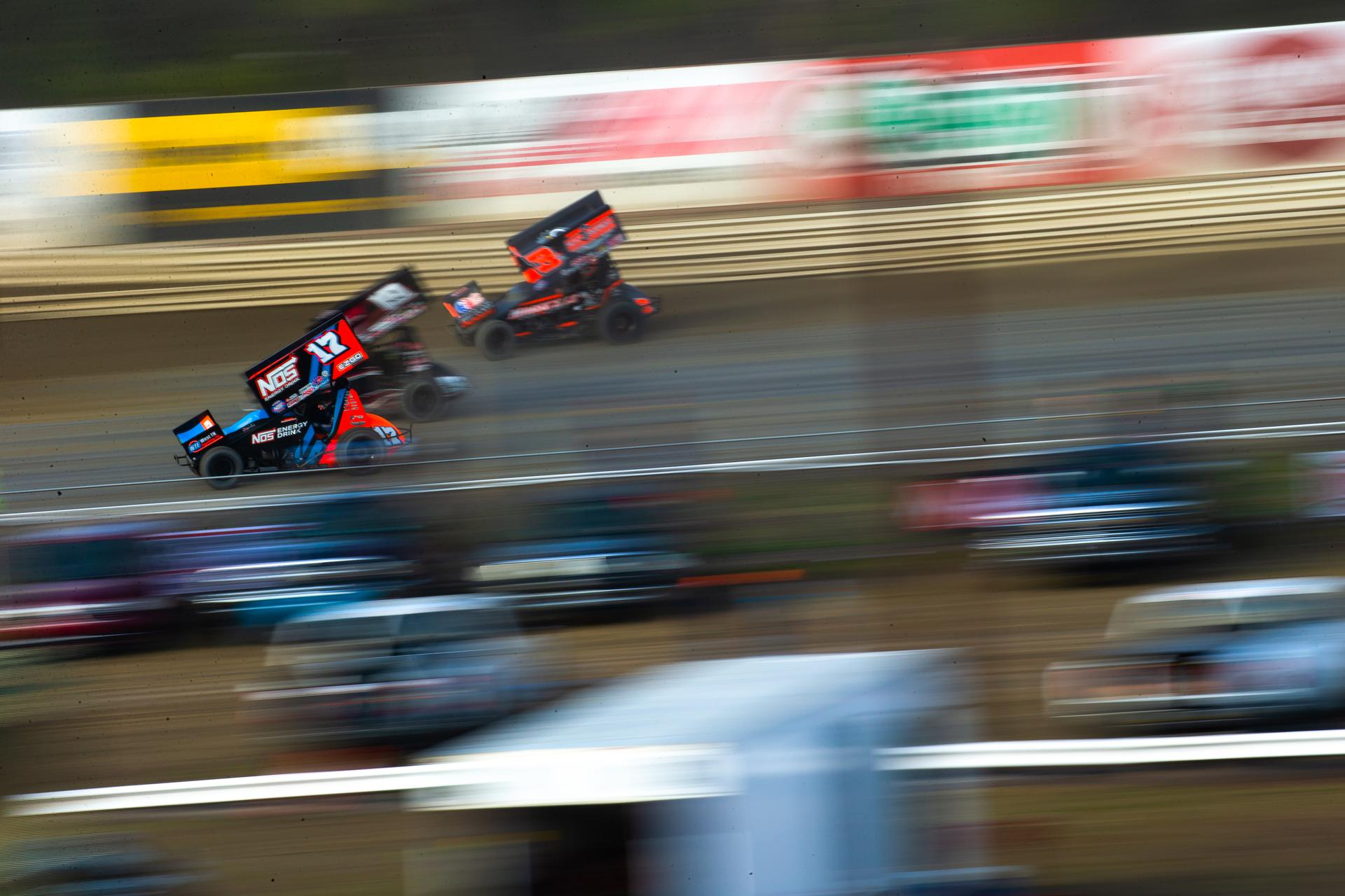 Sprint cars side by side on DIRTVision