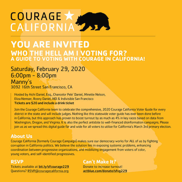 """Who the hell am I voting for? A guide to voting with Courage in California"" @ Manny's"