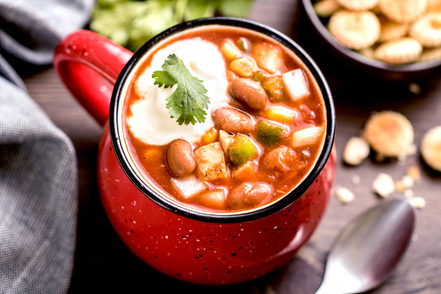 Hungry girl's healthy chicken chili in a mug recipe