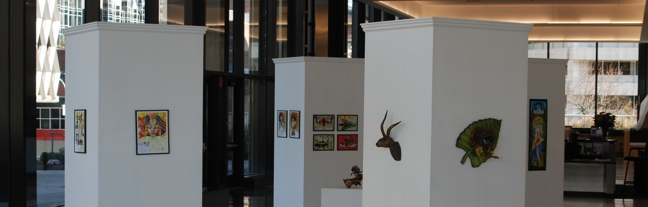The latest Art on the Walls exhibition installation in the lobby of Eleven Stanwix. Photo taken in November 2020.