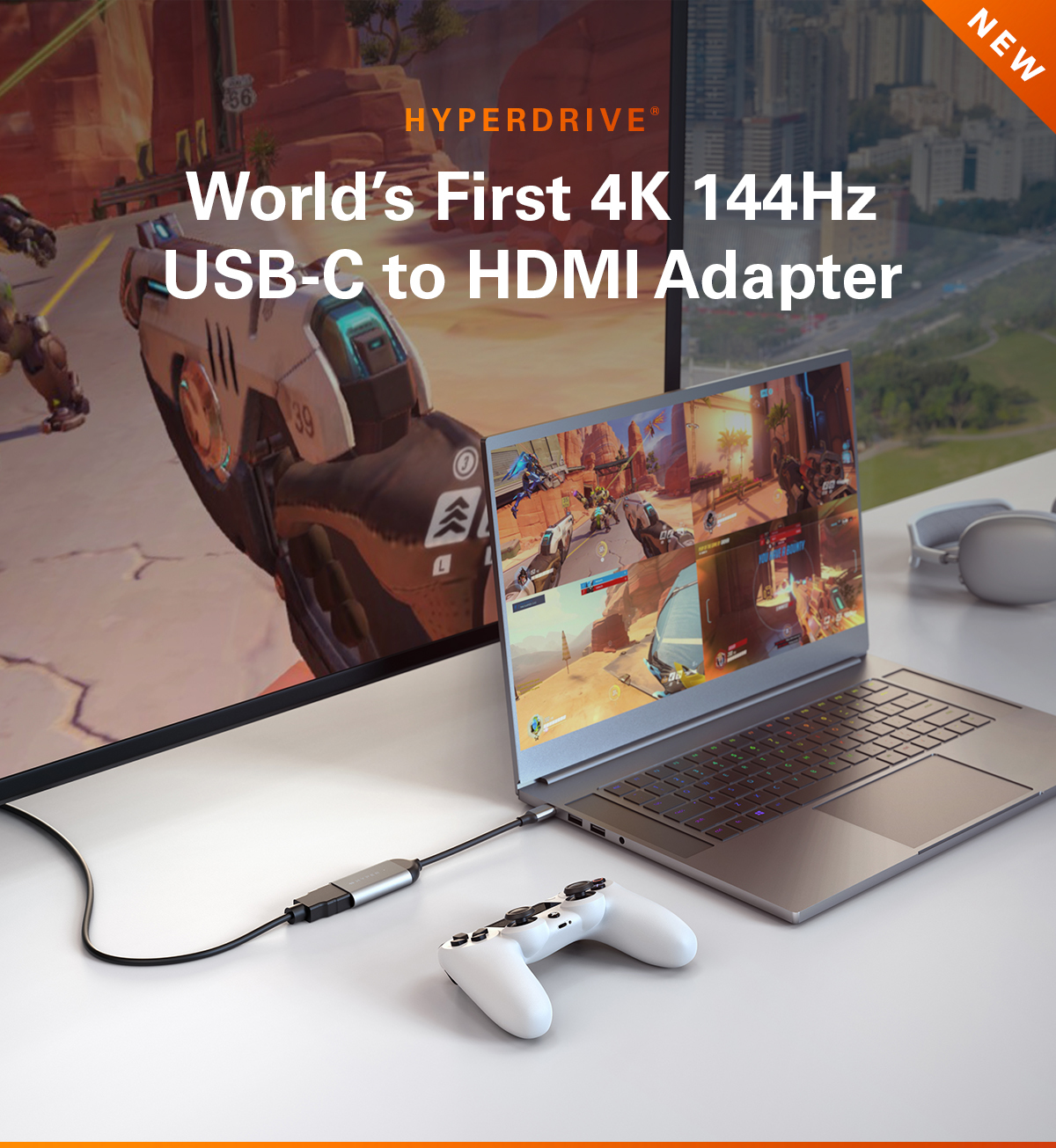 HyperDrive USB-C to 8K 60Hz / 4K 144Hz HDMI Adapter