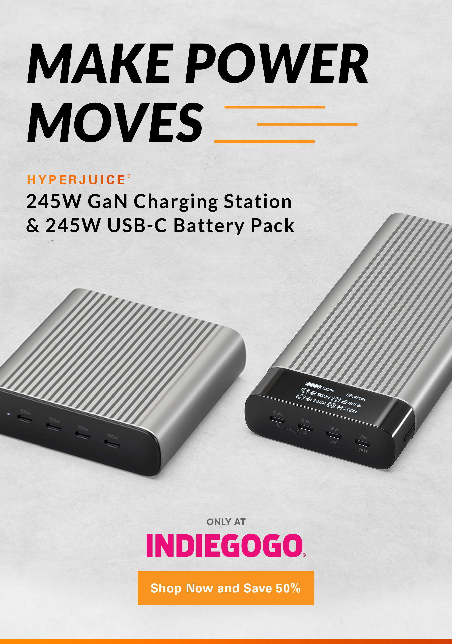 HyperJuice 245W USB-C Battery Pack & GaN Charger - Only on Indiegogo