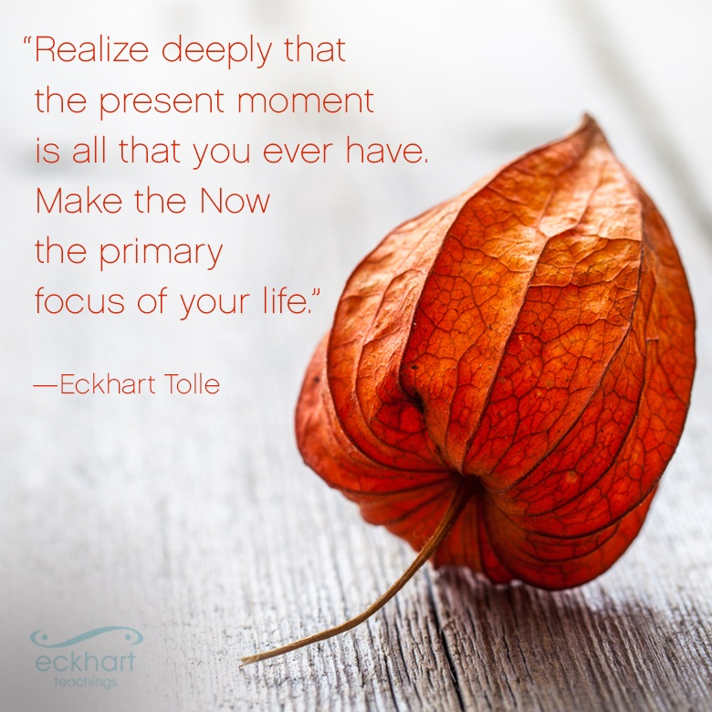 """Realize deeply that the present moment is all that you ever have.  Make the Now the primary focus of your life."" —Eckhart Tolle"
