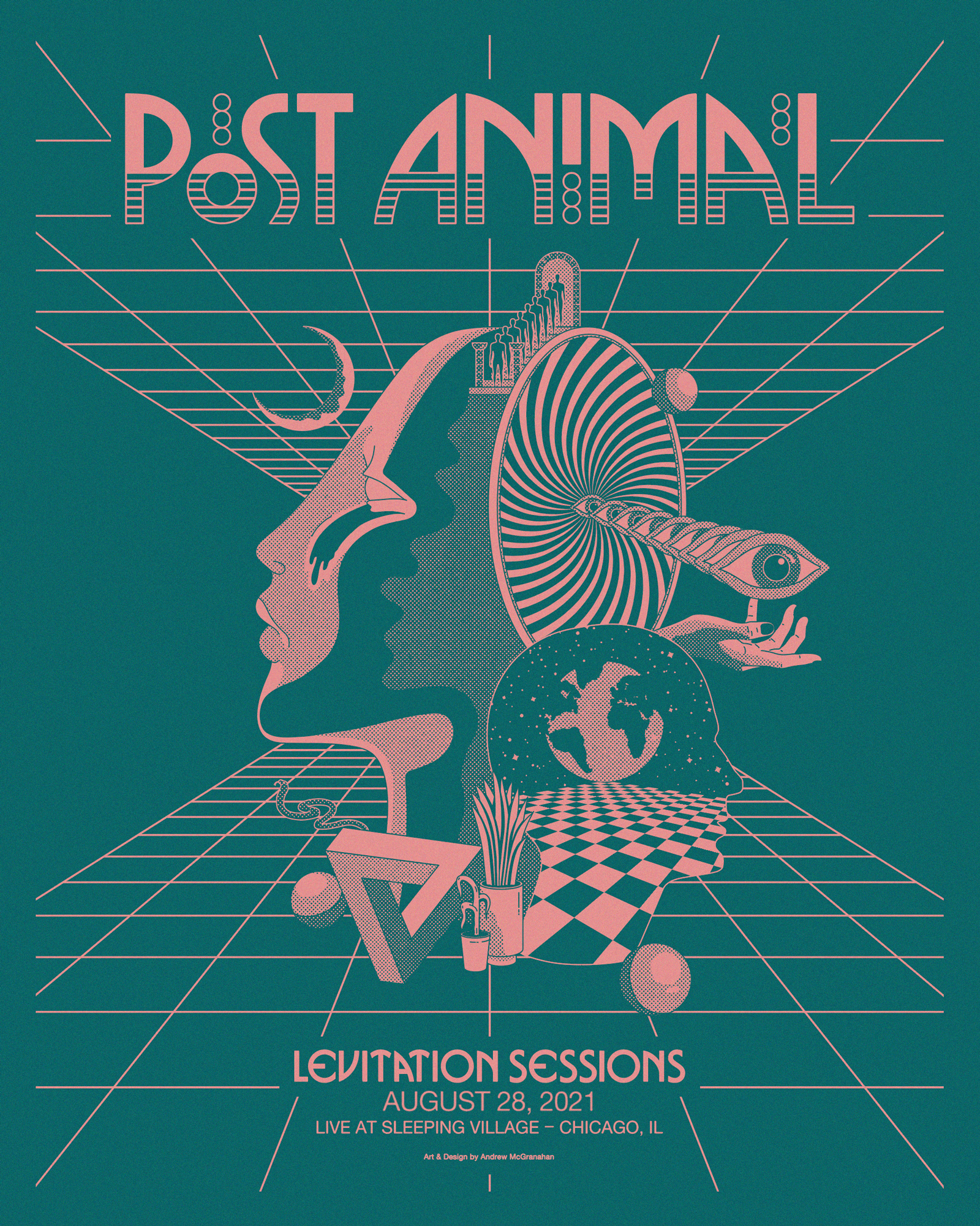 Post Animal - levitation sessions poster - salmon on teal