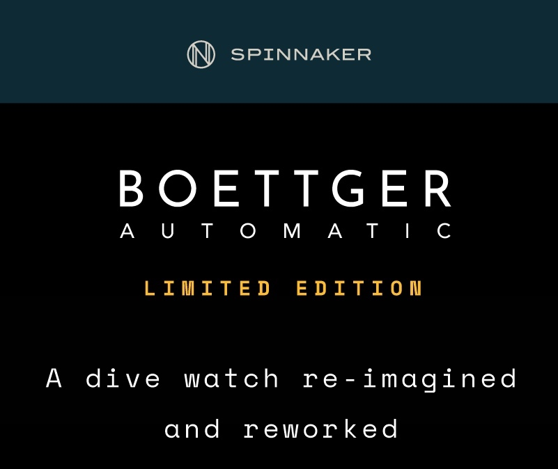The Boettger Automatic Limited Edition is now available for purchase on Spinnaker-Watches.co.uk