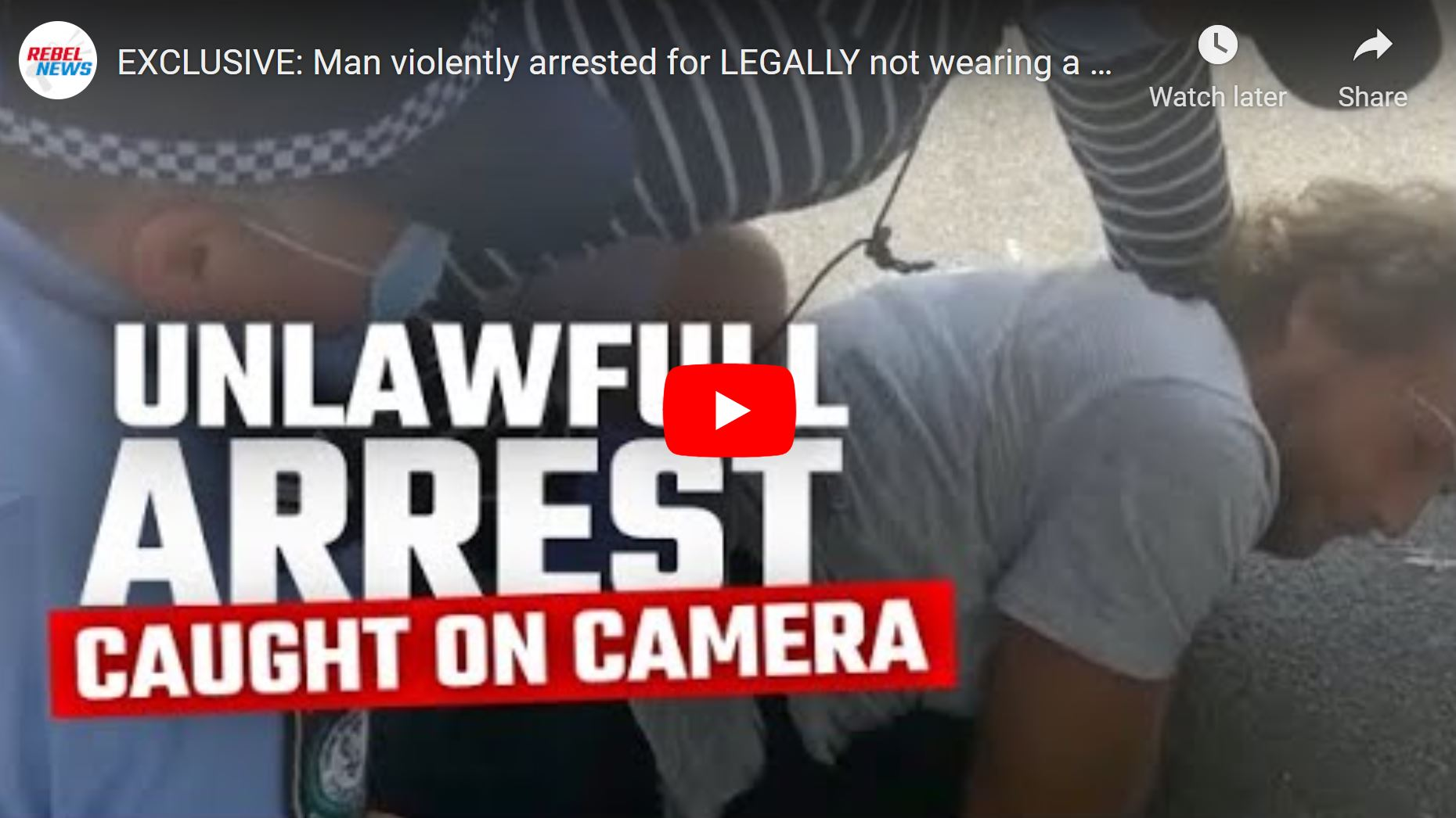 VIDEO: Man violently arrested for LEGALLY not wearing a mask in Sydney