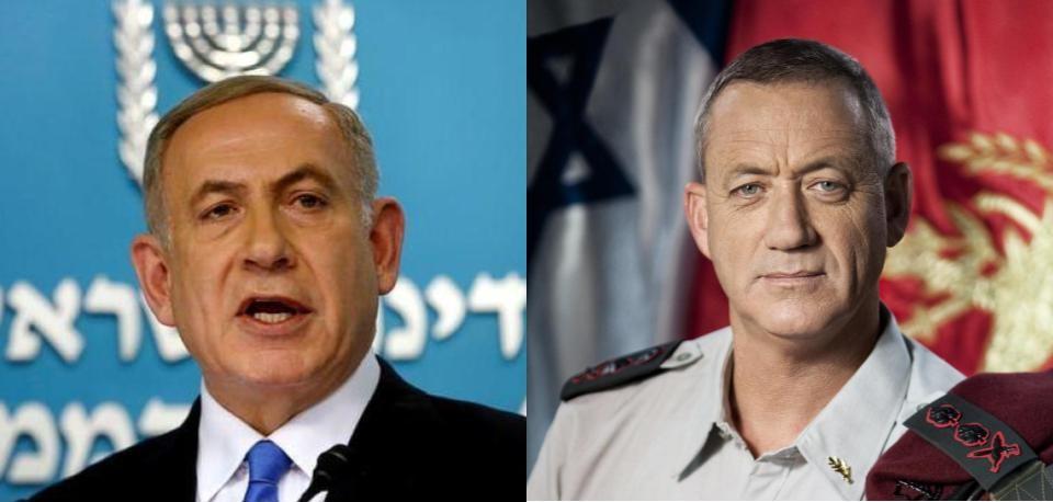 Image: Prime Minister Benjamin Netanyahu (left) and Kahol Lavan leader Benny Gantz