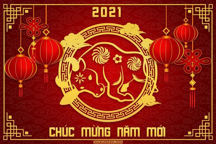 Tải, download Share PSD chủ đề Tết 2021 - PSD chúc mừng năm mới 2021 cực kỳ  chất lượng