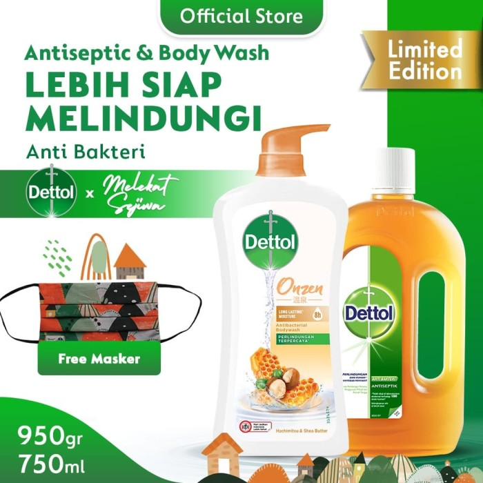Dettol Antiseptic 750ml+ Body Wash Honey 950g FREE Mask Melekat Sejiwa
