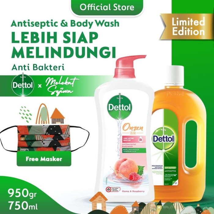Dettol Antiseptic 750ml+ Body Wash Peach 950g FREE Mask Melekat Sejiwa