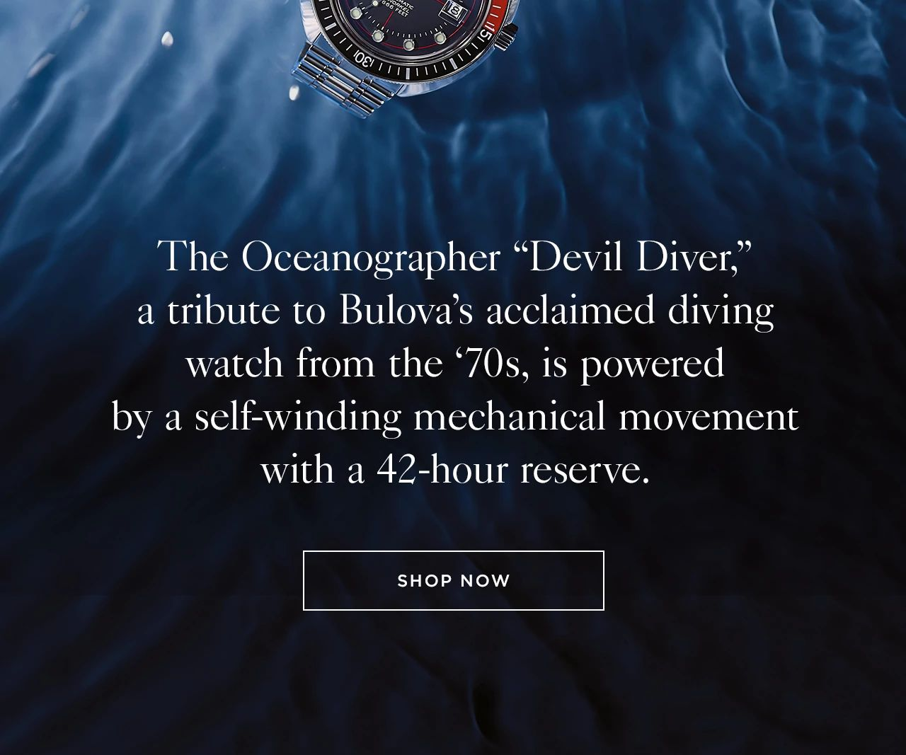 """The Oceanographer """"Devil Diver,"""" a tribute to Bulova's acclaimed diving watch from the '70s, is powered by a self-winding mechanical movement with a 42-hour reserve."""