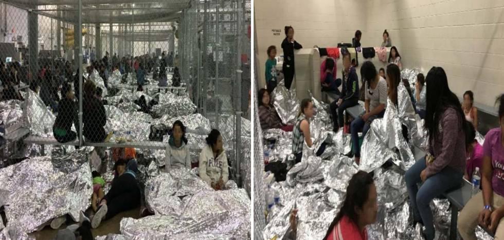 Familias hacinadas en la comisaría de McAllen, Texas, el pasado 11 de junio.