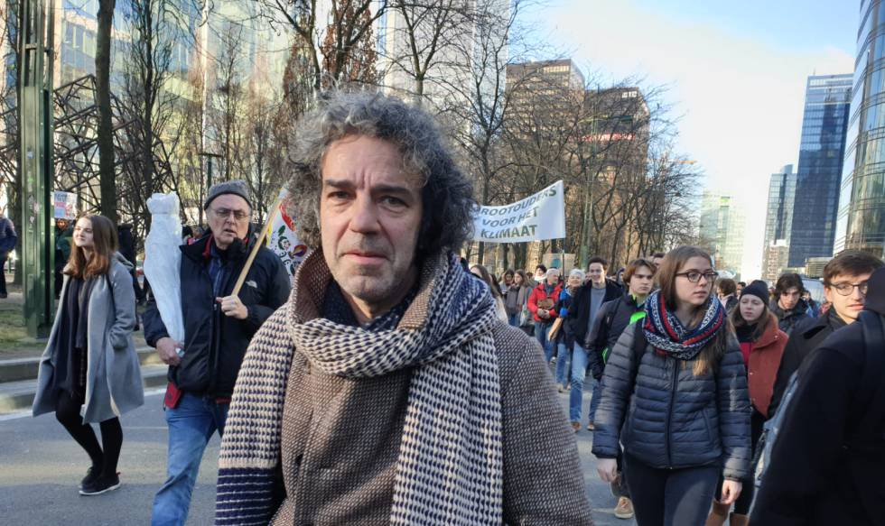 Wim de Coster en la manifestación de este jueves en Bruselas.