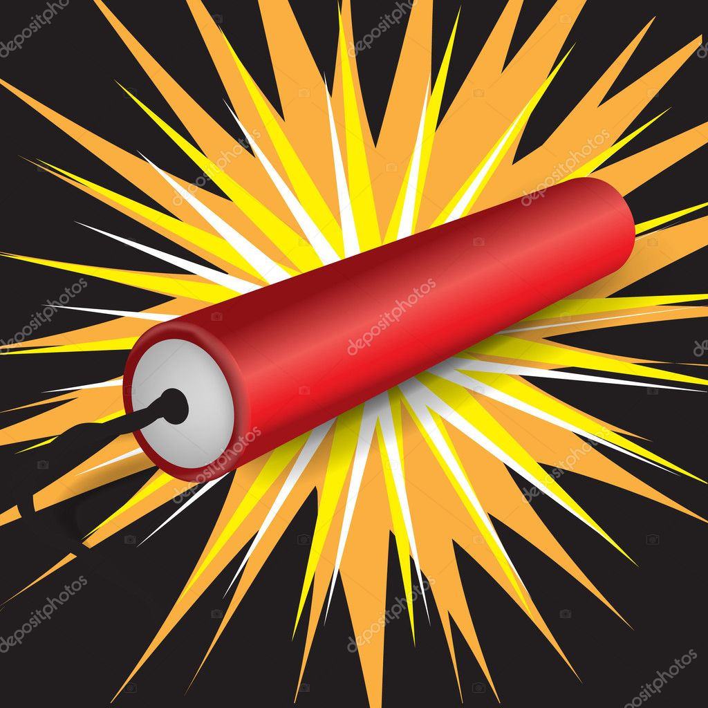 Single dynamite exploding — Stock Vector © corneliap #7041003