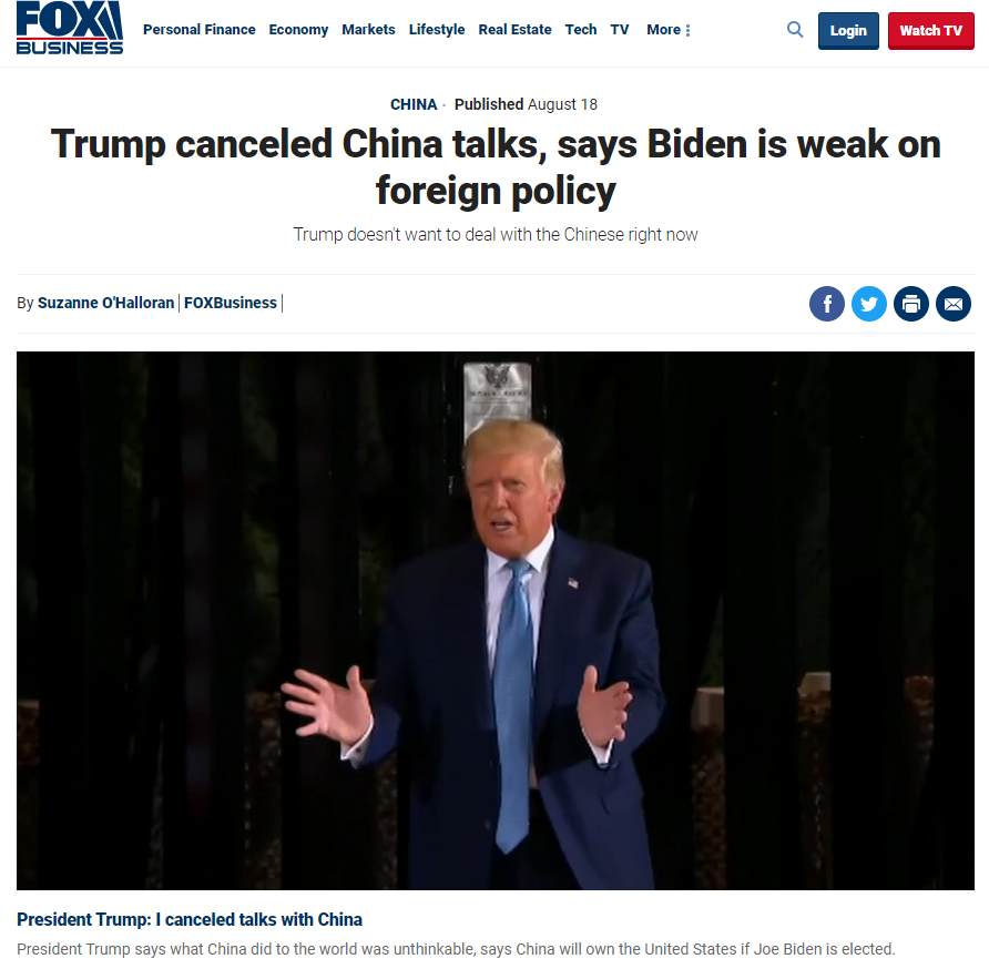 Fox Business: Trump canceled China talks, says Biden is weak on foreign policy
