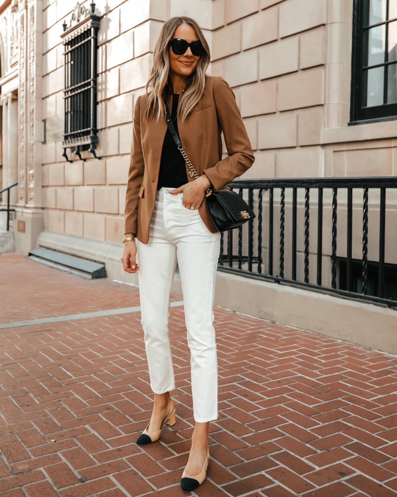 Fashion Jackson Wearing Tan Blazer White Jeans Chanel Slingbacks
