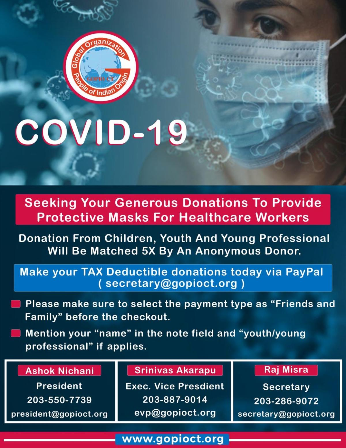 GOPIO-CT Raising Funds for Masks for Frontline Workers