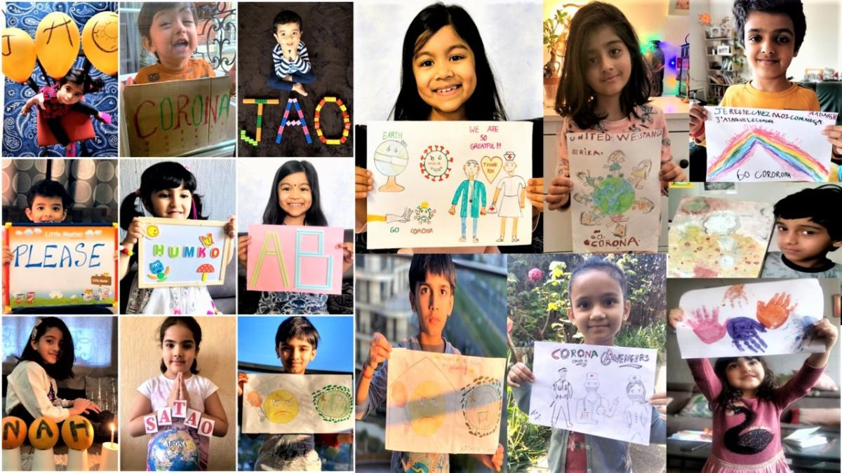 GOPIO France Paris Children Drawing on Coronavirus