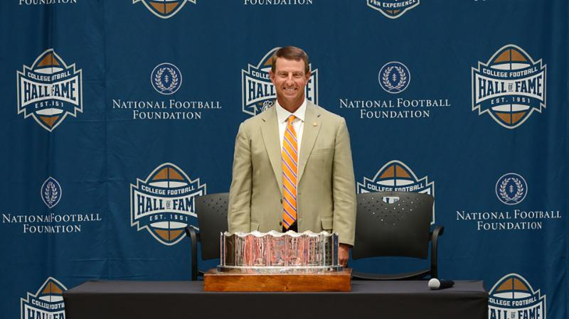 Dabo Swinney with the MacArhtur Bowl after the 2016 season