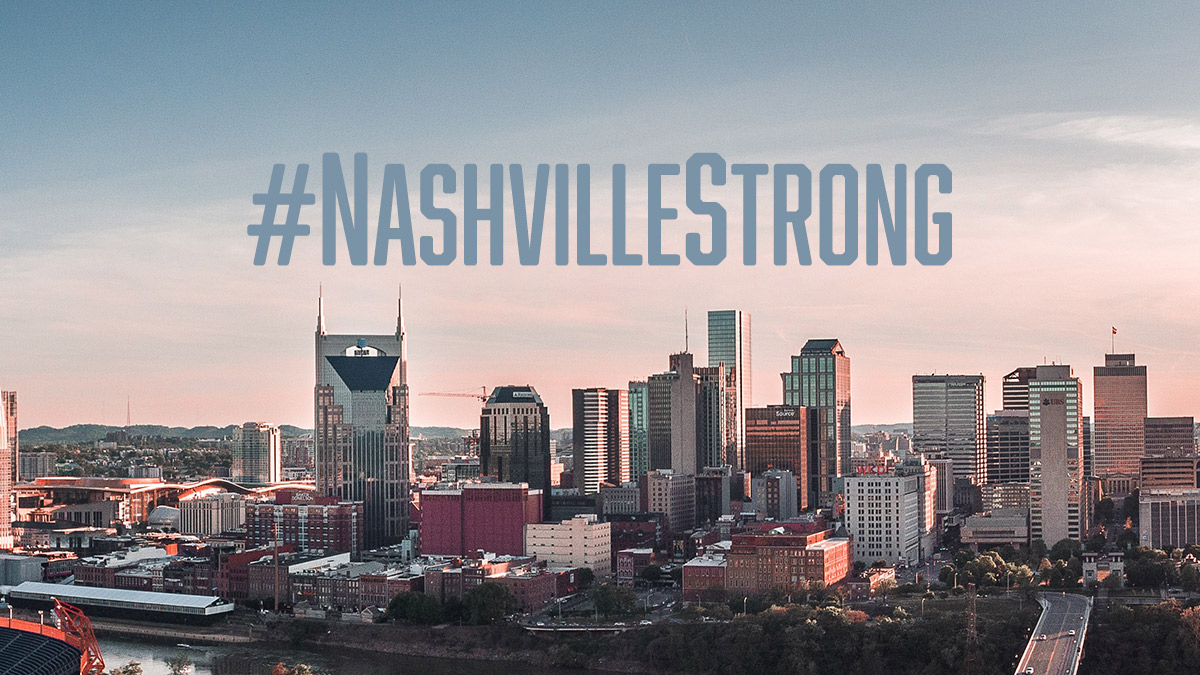 image of Nashville skyline with text Nashville Strong