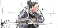 "A courtroom sketch made on April 11, 2019, shows defendant French national Ines Madani, appearing in the Criminal Court of Paris during her trial with two other defendants for ""criminal conspiracy with the aim of preparing acts of terrorism"". - Madani and the two other defendants are suspected to have hosted a group on a social network between 2015 and 2016 which incited aspiring jihadists to travel to Syria or Irak. Terror attacks projects were also regularly evoked in the group. Madani will also appear in a Paris criminal court at the end of September 2019 over a failed attack near the Notre Dame Cathedral in Paris in 2016. (Photo by Benoit PEYRUCQ / AFP)"