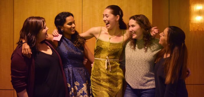 The five student storytellers, left to right: Shelby Daniel, FCRH '20; Abby Govindan, FCRH '19; Erica Knox, FCRH '20, GSE '21; Sophia Jagoe-Seidl, FCRH '21; and Danielle Terracciano, FCRH '19. Photos by Taylor Ha