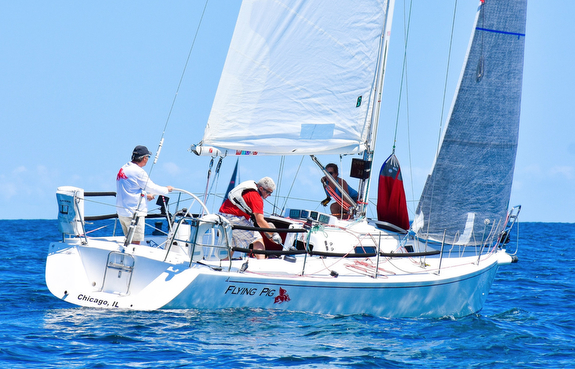 J/105 sailing off Chicago
