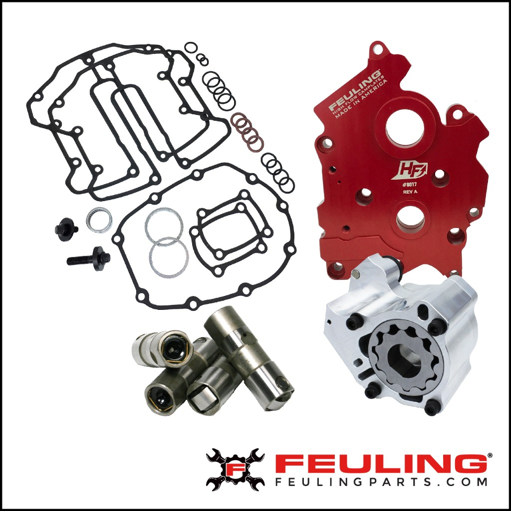 FEULING® OILING SYSTEMS FOR HARLEY-DAVIDSON MILWAUKEE 8 ENGINES • 68% more oil volume to crankshaft and connecting rod bearing •42% more scavenge volume with port sizing, matched passages  and holes to the engine case • 15-25 degree cooler engine temperatures • 15-20 degree cooler oil temperatures • 30% more PSI of oil pressure