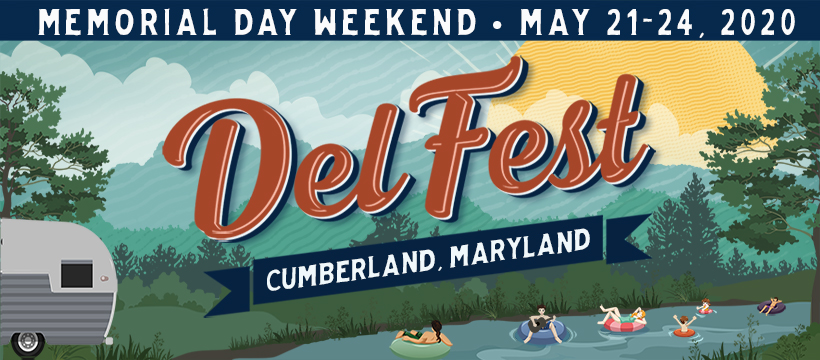 Header Graphic: Memorial Day Weekend May 21-24 2020 DelFest Cumberland, Maryland